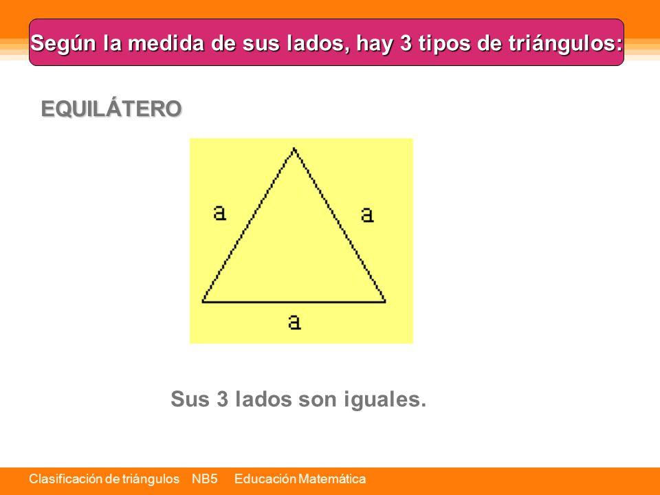 Clasificación de triángulos NB5 Educación Matemática Es el único triángulo regular.
