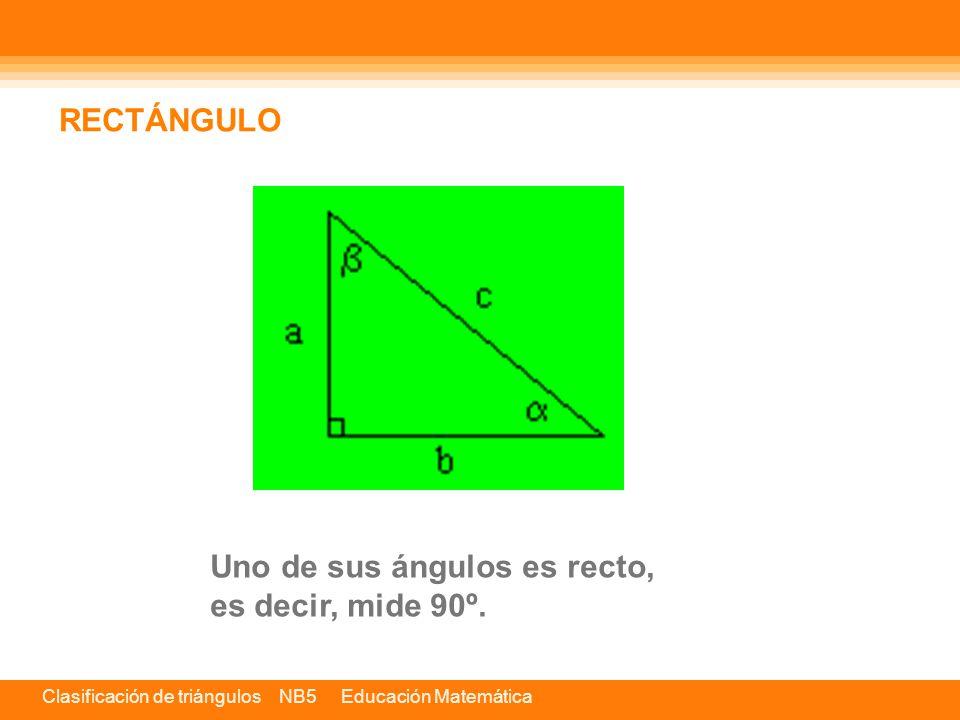 Uno de sus ángulos es recto, es decir, mide 90º. RECTÁNGULO