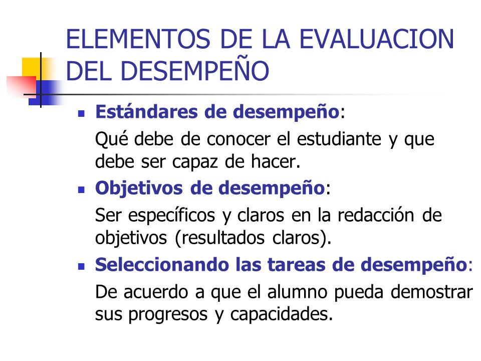 ELEMENTOS DE LA EVALUACION DEL DESEMPEÑO Estándares de desempeño: Qué debe de conocer el estudiante y que debe ser capaz de hacer. Objetivos de desemp