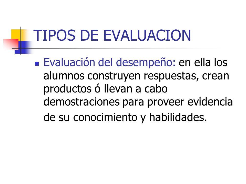 TIPOS DE EVALUACION Evaluación del desempeño: en ella los alumnos construyen respuestas, crean productos ó llevan a cabo demostraciones para proveer e