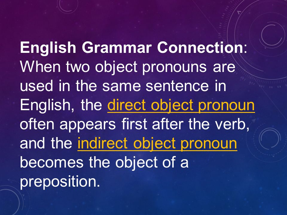 English Grammar Connection: When two object pronouns are used in the same sentence in English, the direct object pronoun often appears first after the verb, and the indirect object pronoun becomes the object of a preposition.