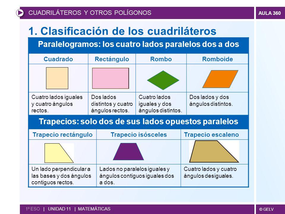 © GELV AULA 360 CUADRILÁTEROS Y OTROS POLÍGONOS 1º ESO   UNIDAD 11   MATEMÁTICAS 1.