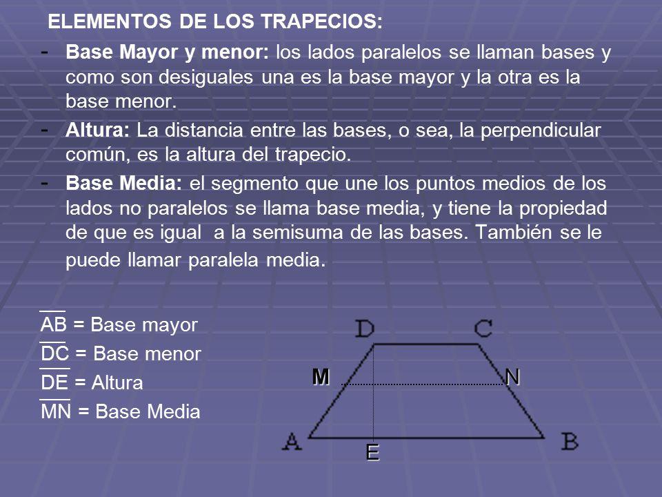 ELEMENTOS DE LOS TRAPECIOS: - - Base Mayor y menor: los lados paralelos se llaman bases y como son desiguales una es la base mayor y la otra es la bas