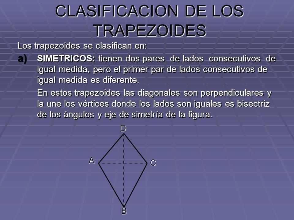 CLASIFICACION DE LOS TRAPEZOIDES Los trapezoides se clasifican en: a) SIMETRICOS: tienen dos pares de lados consecutivos de igual medida, pero el prim
