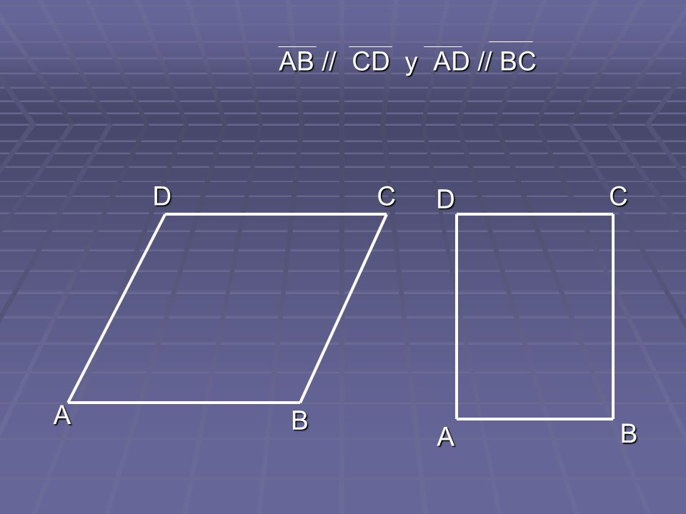 AB // CD y AD // BC AB // CD y AD // BC A B A B C D CD