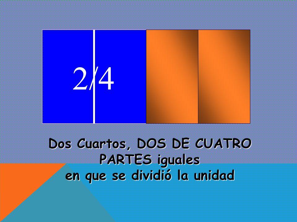 1/4 Un cuarto, UNA DE CUATRO PARTES iguales en que se dividió la unidad.