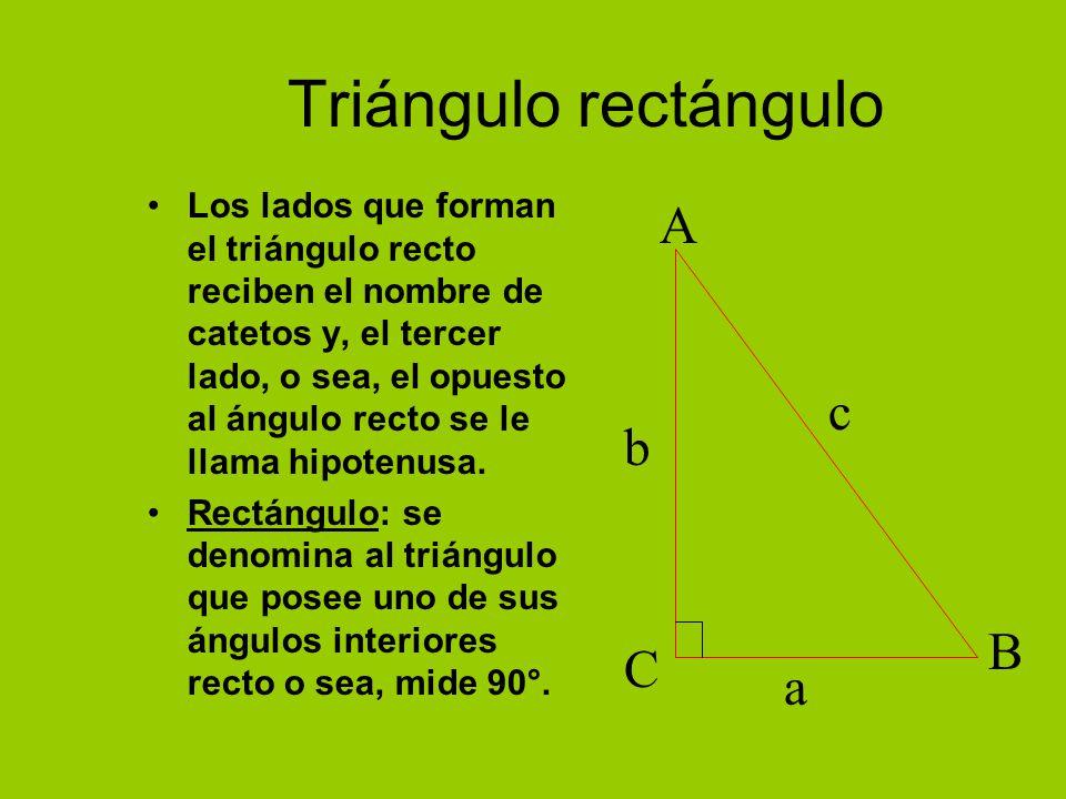 Triángulo rectángulo Los lados que forman el triángulo recto reciben el nombre de catetos y, el tercer lado, o sea, el opuesto al ángulo recto se le llama hipotenusa.