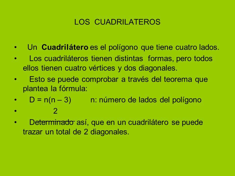 LOS CUADRILATEROS Un Cuadrilátero es el polígono que tiene cuatro lados.