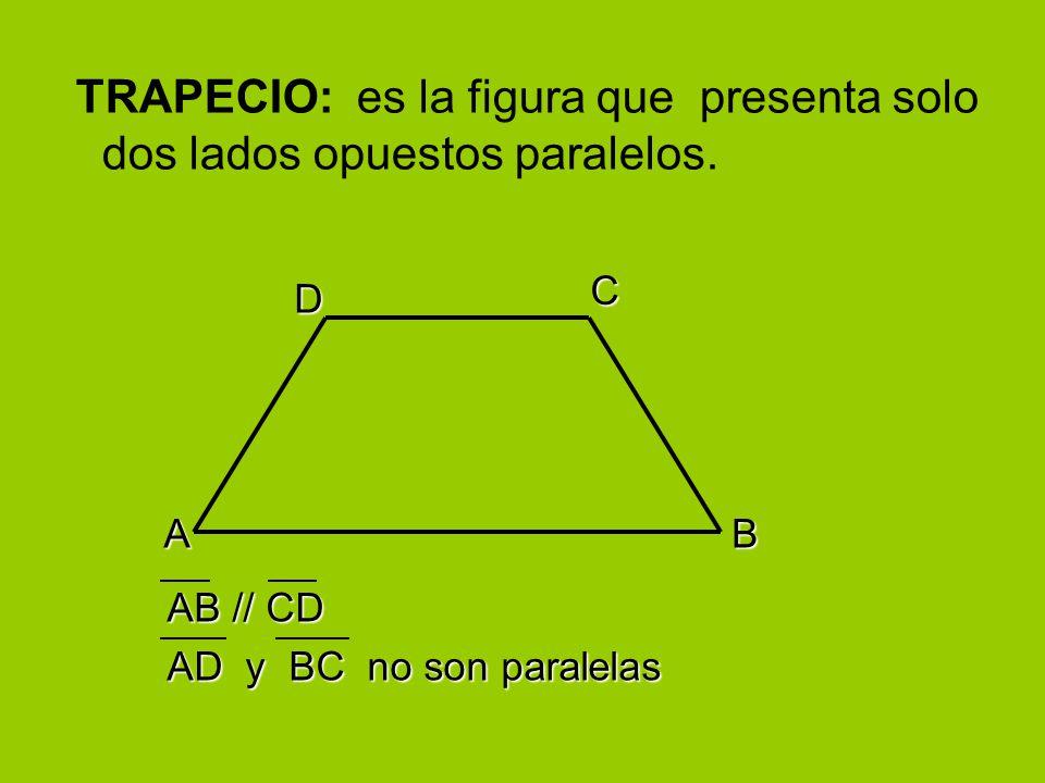 TRAPECIO: es la figura que presenta solo dos lados opuestos paralelos.