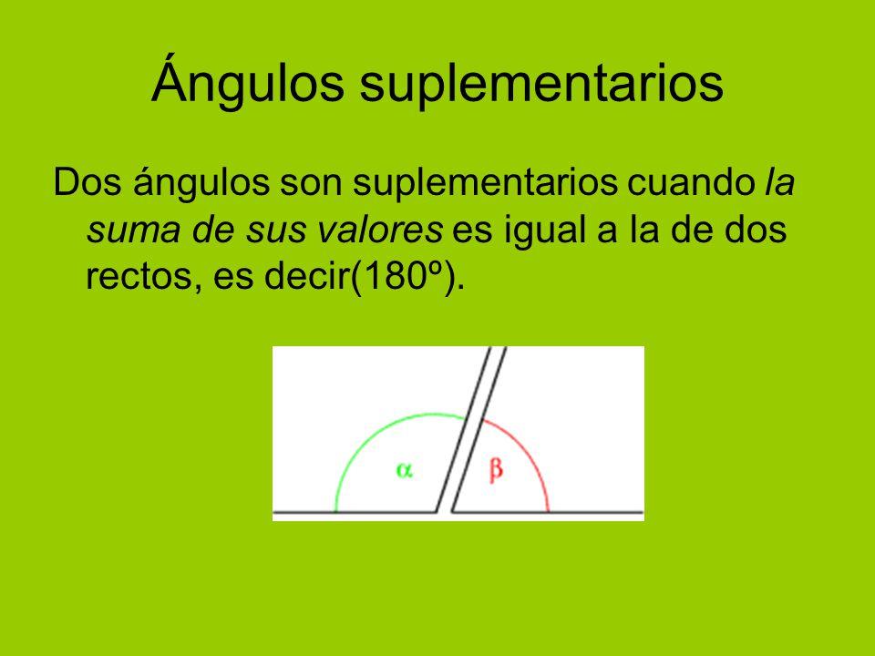 Ángulos suplementarios Dos ángulos son suplementarios cuando la suma de sus valores es igual a la de dos rectos, es decir(180º).
