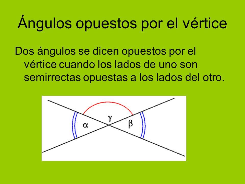 Ángulos opuestos por el vértice Dos ángulos se dicen opuestos por el vértice cuando los lados de uno son semirrectas opuestas a los lados del otro.