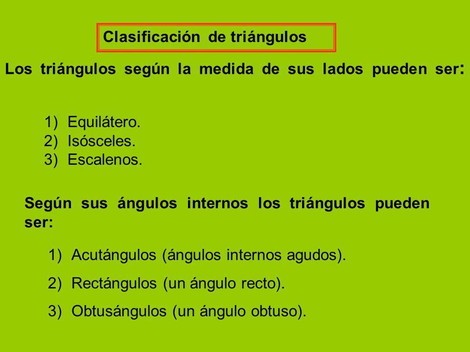 Clasificación de triángulos Los triángulos según la medida de sus lados pueden ser : Según sus ángulos internos los triángulos pueden ser: 1)Equilátero.