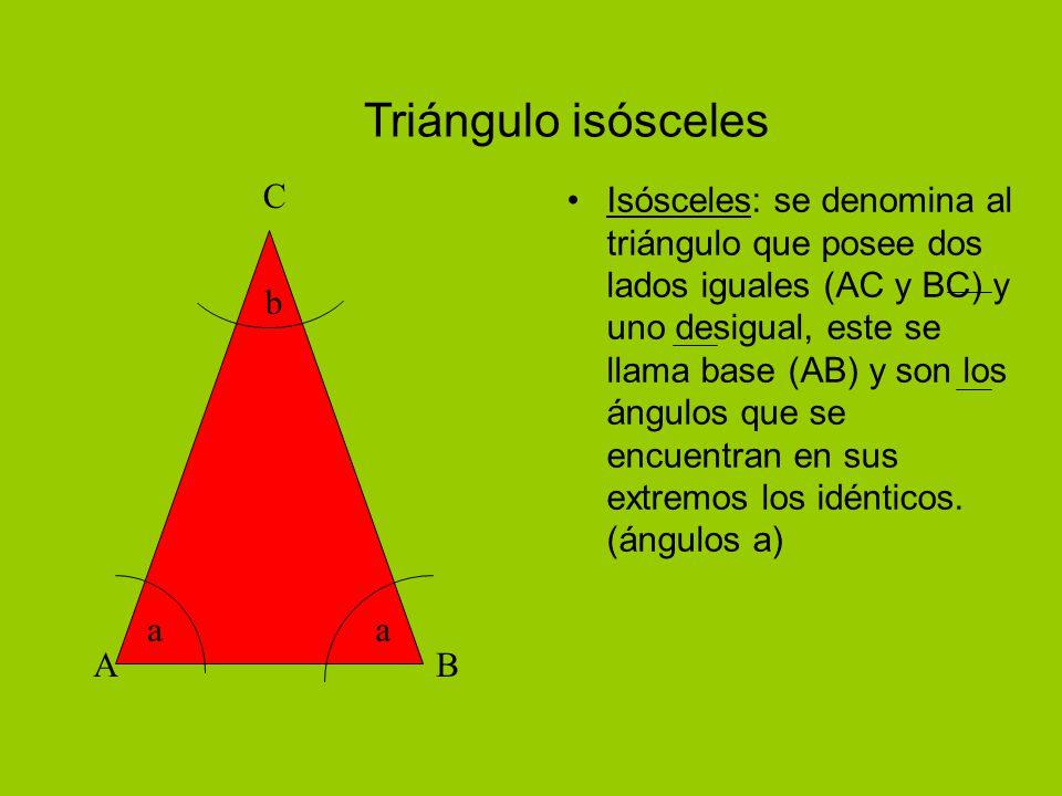 Triángulo isósceles Isósceles: se denomina al triángulo que posee dos lados iguales (AC y BC) y uno desigual, este se llama base (AB) y son los ángulos que se encuentran en sus extremos los idénticos.