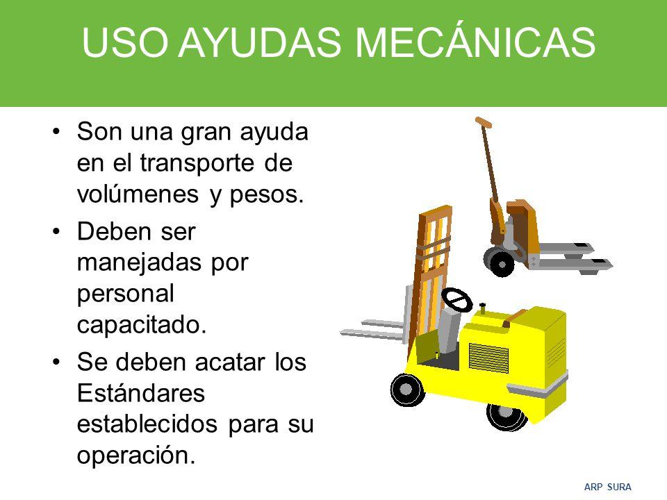 ARP SURA AYUDAS MECÁNICAS Son los equipos o máquinas que nos permiten el desplazamiento o movilización de grandes volúmenes de mercancía.