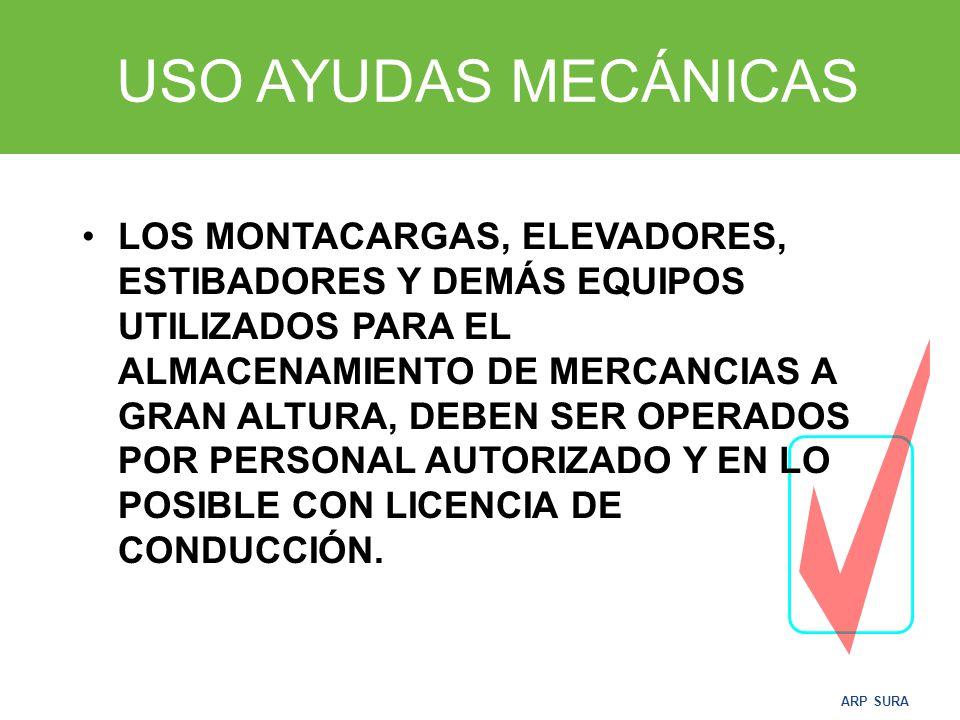 ARP SURA USO AYUDAS MECÁNICAS Son una gran ayuda en el transporte de volúmenes y pesos.