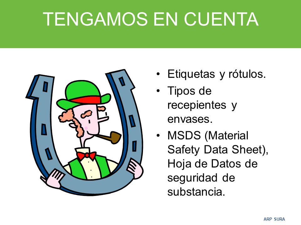 ARP SURA ALMACENAMIENTO Y MANIPULACIÓN DE QUIMICOS Todos los elementos y sustancias químicas, tienen características especiales y un cuidadoso manejo.
