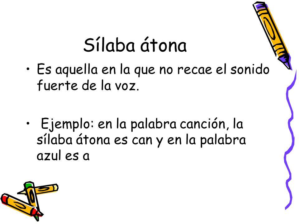 Sílaba átona Es aquella en la que no recae el sonido fuerte de la voz.