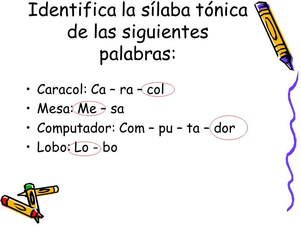 Identifica la sílaba tónica de las siguientes palabras: Caracol: Ca – ra – col Mesa: Me – sa Computador: Com – pu – ta – dor Lobo: Lo - bo