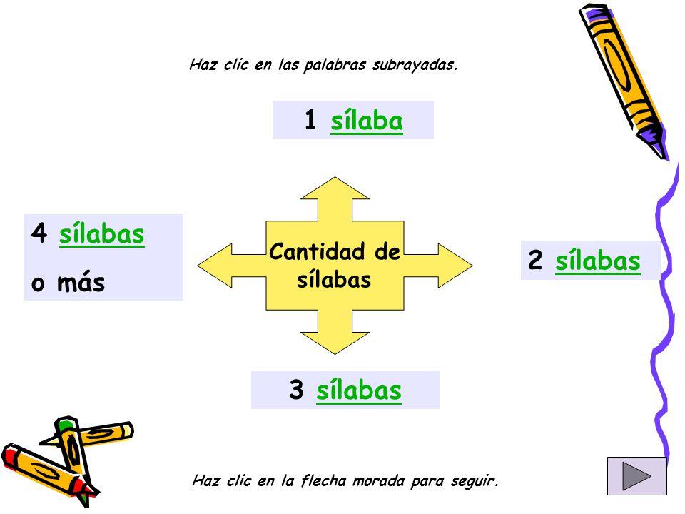 Cantidad de sílabas 1 sílabasílaba 2 sílabassílabas 3 sílabassílabas 4 sílabassílabas o más Haz clic en las palabras subrayadas.