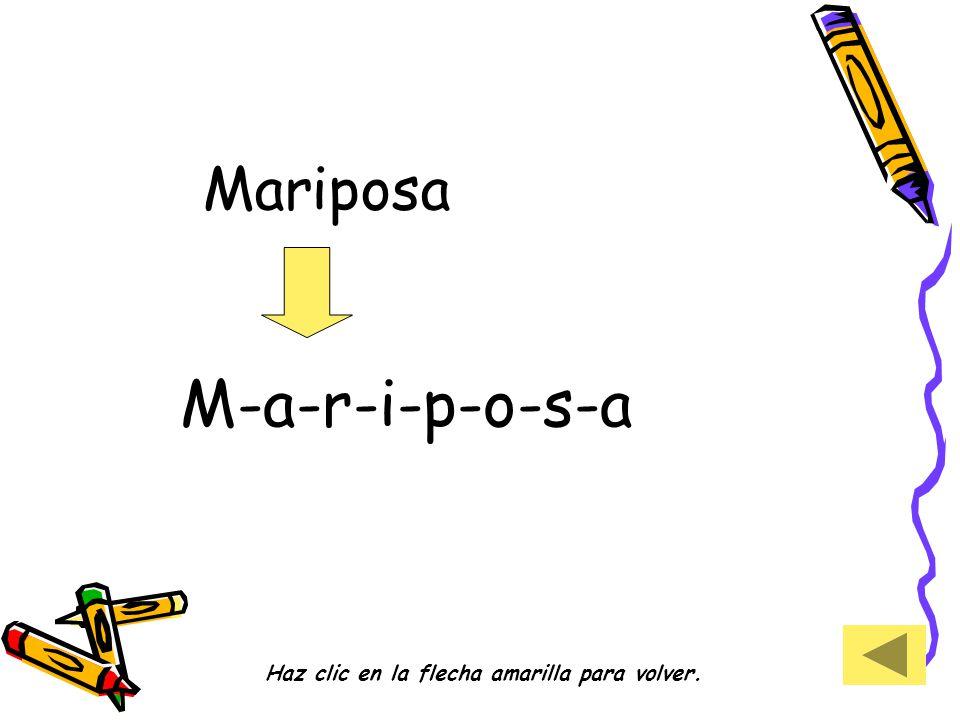 Mariposa M-a-r-i-p-o-s-a Haz clic en la flecha amarilla para volver.