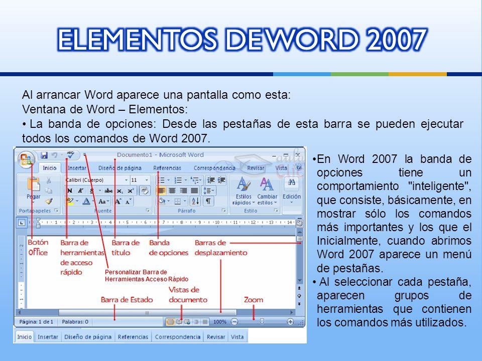 Al arrancar Word aparece una pantalla como esta: Ventana de Word – Elementos: La banda de opciones: Desde las pestañas de esta barra se pueden ejecutar todos los comandos de Word 2007.