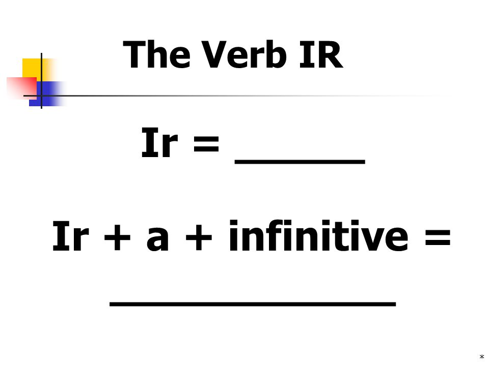 * Ir + a + infinitive = ___________ Ir = _____ The Verb IR