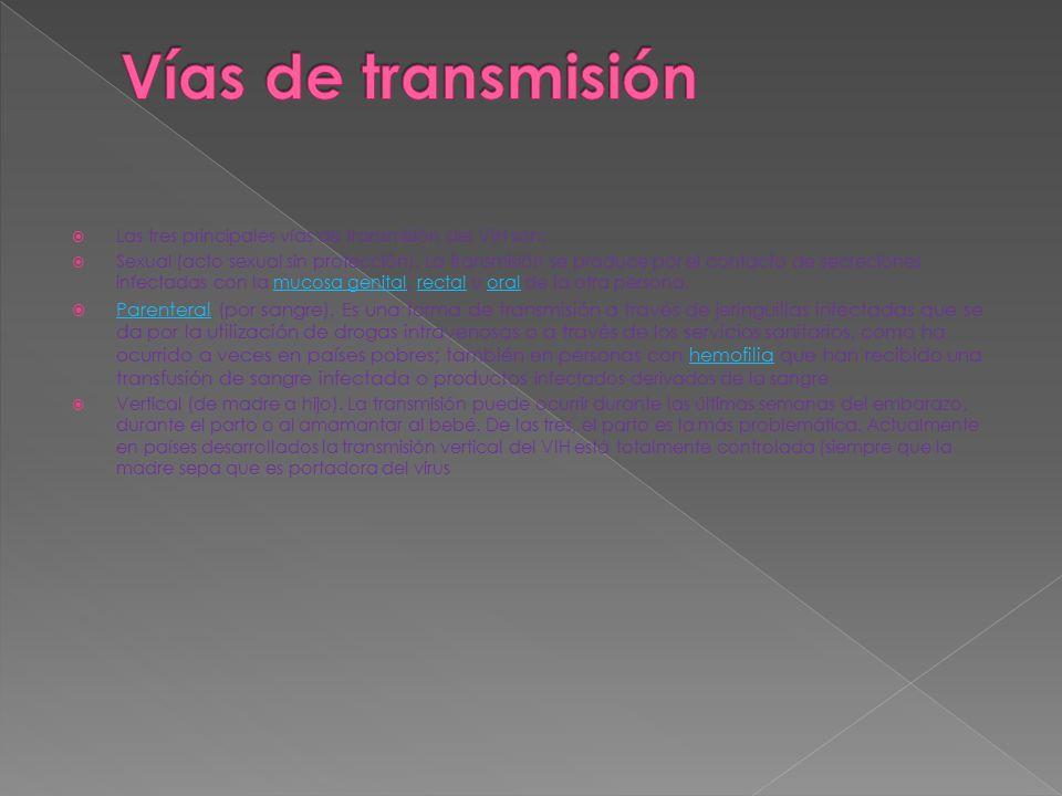  Las tres principales vías de transmisión del VIH son:  Sexual (acto sexual sin protección). La transmisión se produce por el contacto de secrecione