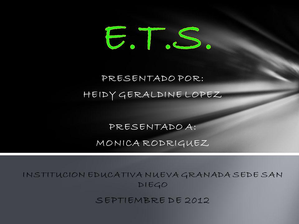 PRESENTADO POR: HEIDY GERALDINE LOPEZ PRESENTADO A: MONICA RODRIGUEZ INSTITUCION EDUCATIVA NUEVA GRANADA SEDE SAN DIEGO SEPTIEMBRE DE 2012