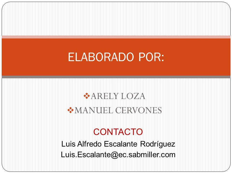 ARELY LOZA  MANUEL CERVONES ELABORADO POR: CONTACTO Luis Alfredo Escalante Rodríguez Luis.Escalante@ec.sabmiller.com