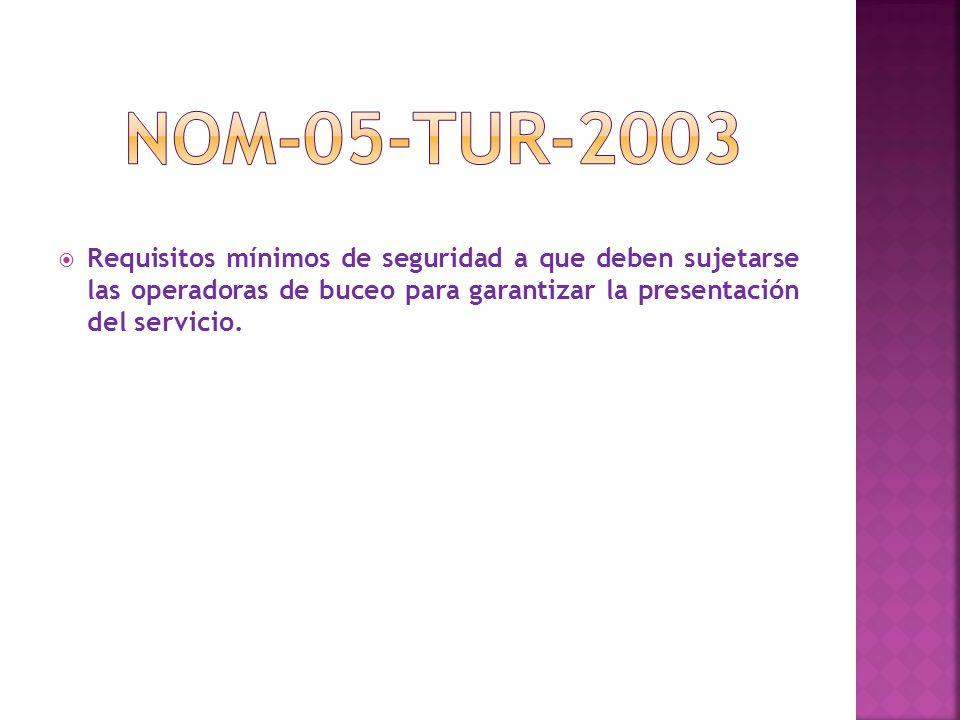  Requisitos mínimos de seguridad a que deben sujetarse las operadoras de buceo para garantizar la presentación del servicio.