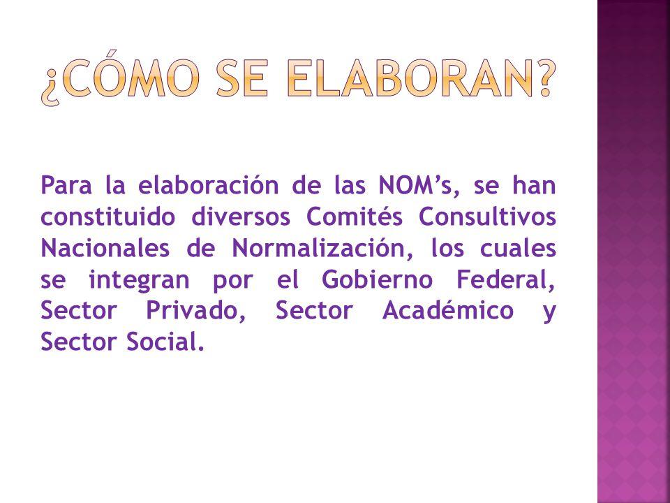 Para la elaboración de las NOM's, se han constituido diversos Comités Consultivos Nacionales de Normalización, los cuales se integran por el Gobierno Federal, Sector Privado, Sector Académico y Sector Social.