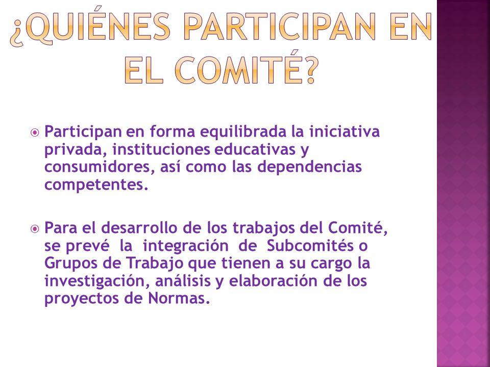  Participan en forma equilibrada la iniciativa privada, instituciones educativas y consumidores, así como las dependencias competentes.