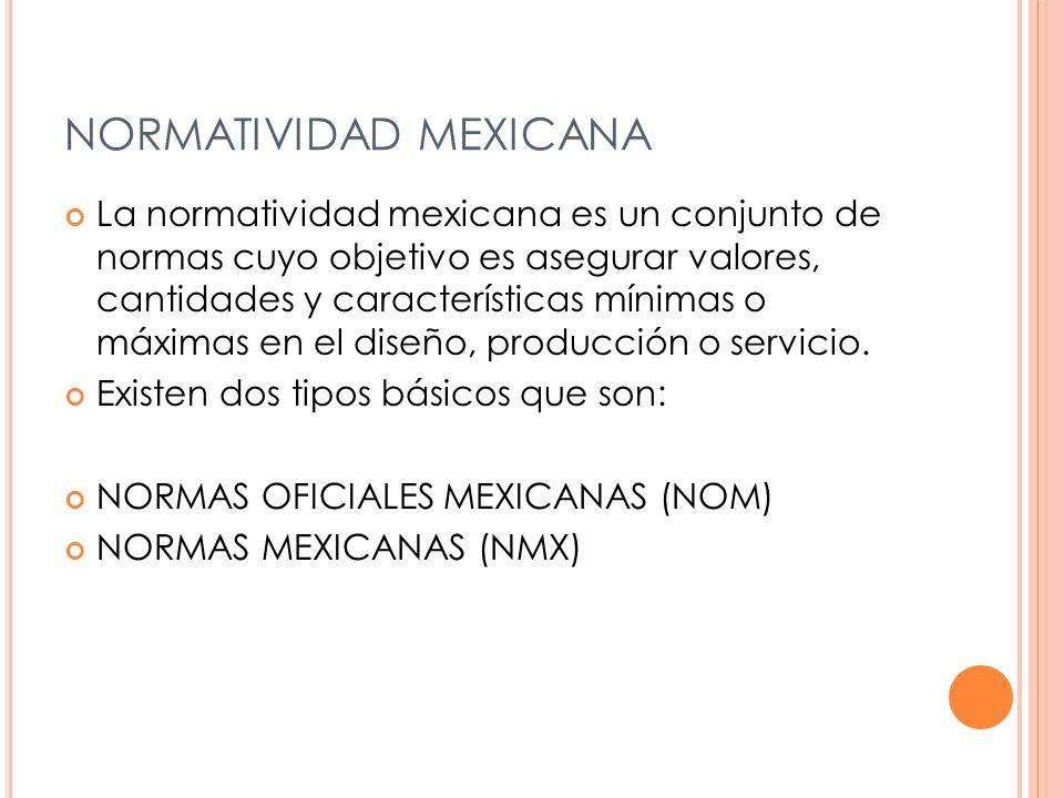NORMATIVIDAD MEXICANA La normatividad mexicana es un conjunto de normas cuyo objetivo es asegurar valores, cantidades y características mínimas o máximas en el diseño, producción o servicio.