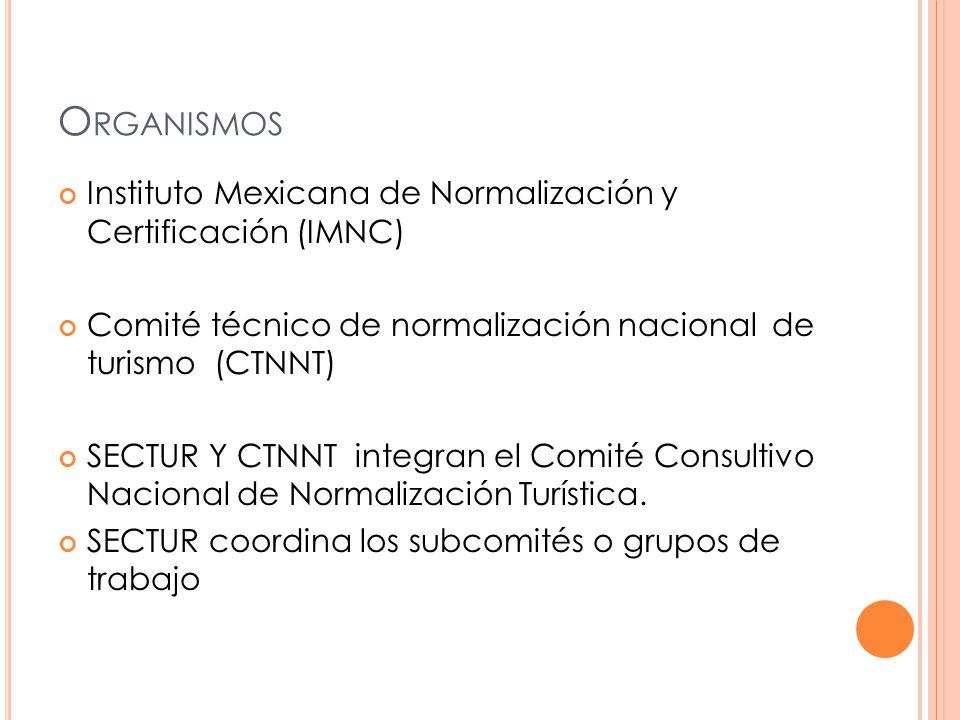 O RGANISMOS Instituto Mexicana de Normalización y Certificación (IMNC) Comité técnico de normalización nacional de turismo (CTNNT) SECTUR Y CTNNT integran el Comité Consultivo Nacional de Normalización Turística.