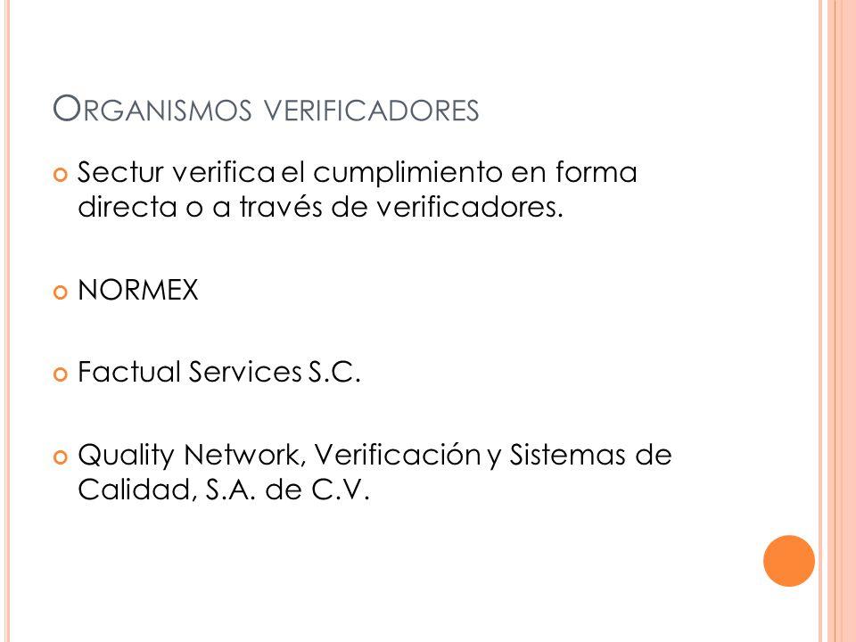 O RGANISMOS VERIFICADORES Sectur verifica el cumplimiento en forma directa o a través de verificadores.