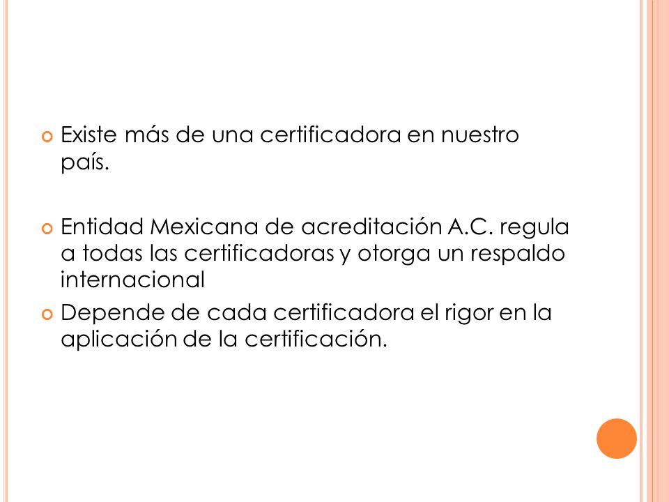 Existe más de una certificadora en nuestro país. Entidad Mexicana de acreditación A.C.