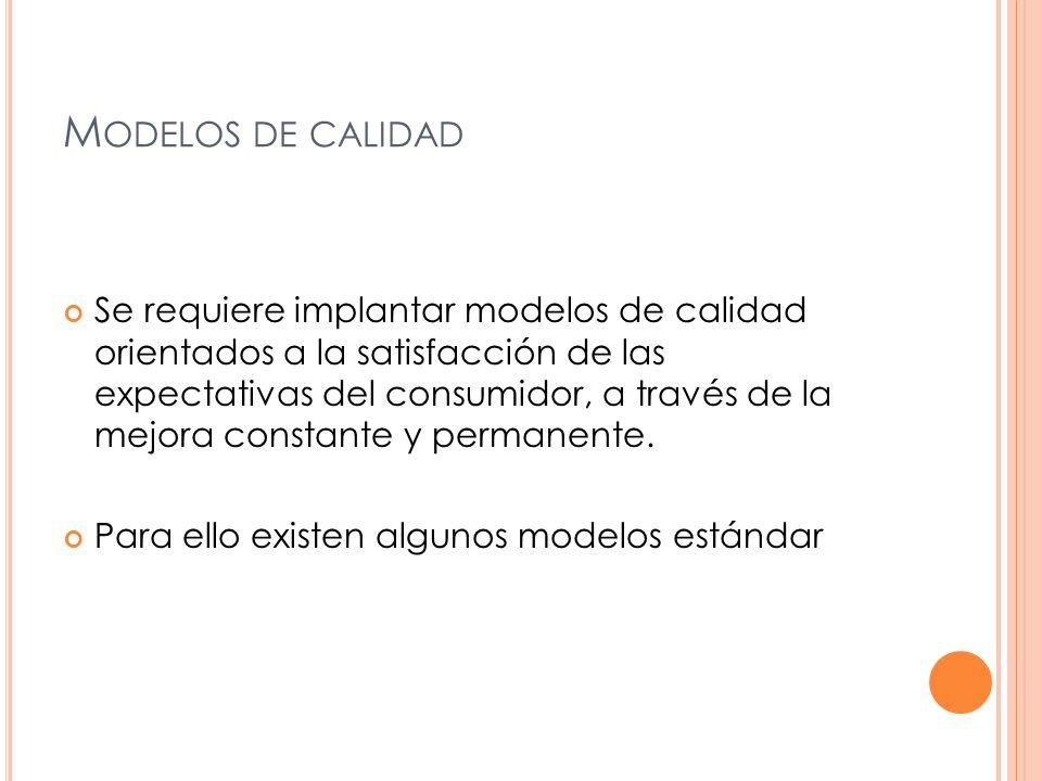 M ODELOS DE CALIDAD Se requiere implantar modelos de calidad orientados a la satisfacción de las expectativas del consumidor, a través de la mejora constante y permanente.