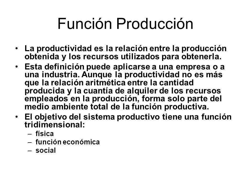 Función Producción Función física: La característica de la función física de producción es la generación de cosas (bienes) y de servicios.