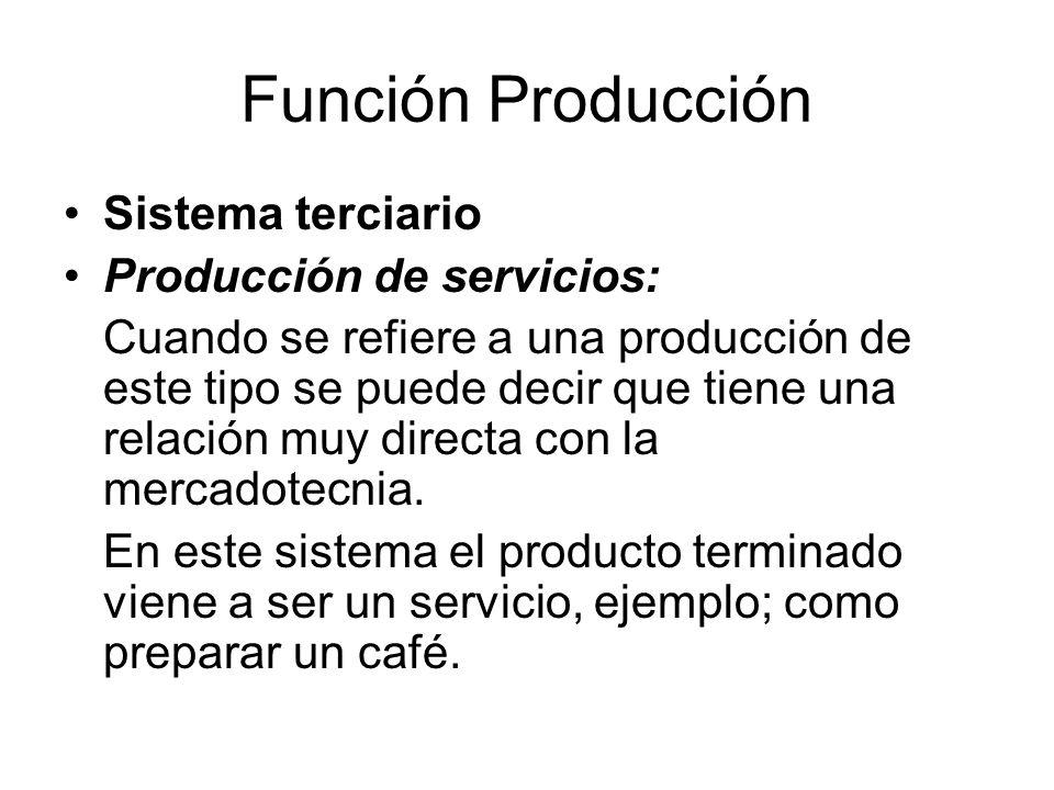 Función Producción Sistema terciario Producción de servicios: Cuando se refiere a una producción de este tipo se puede decir que tiene una relación muy directa con la mercadotecnia.