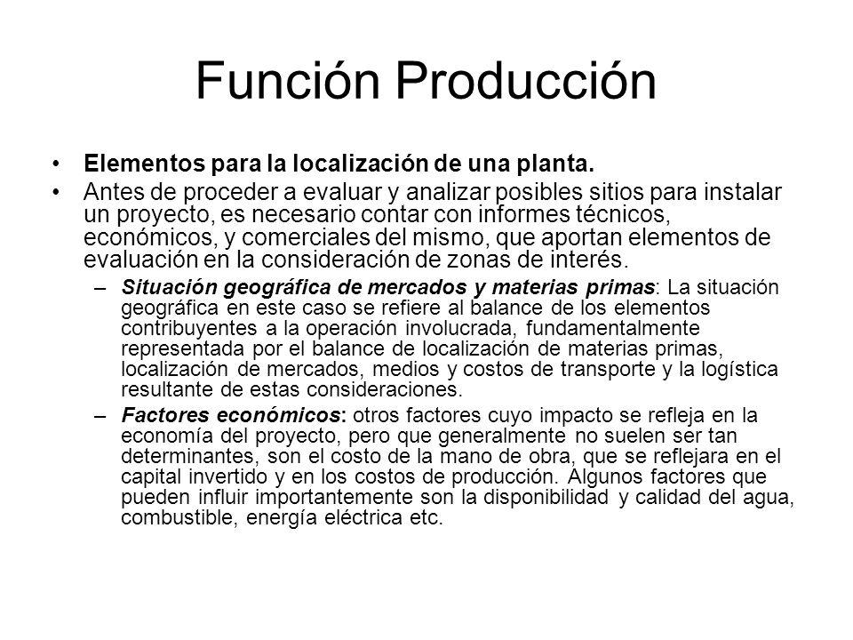 Función Producción Elementos para la localización de una planta.