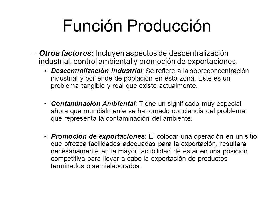 Función Producción –Otros factores: Incluyen aspectos de descentralización industrial, control ambiental y promoción de exportaciones.