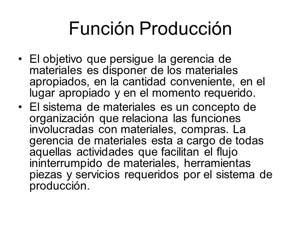 Función Producción El objetivo que persigue la gerencia de materiales es disponer de los materiales apropiados, en la cantidad conveniente, en el lugar apropiado y en el momento requerido.