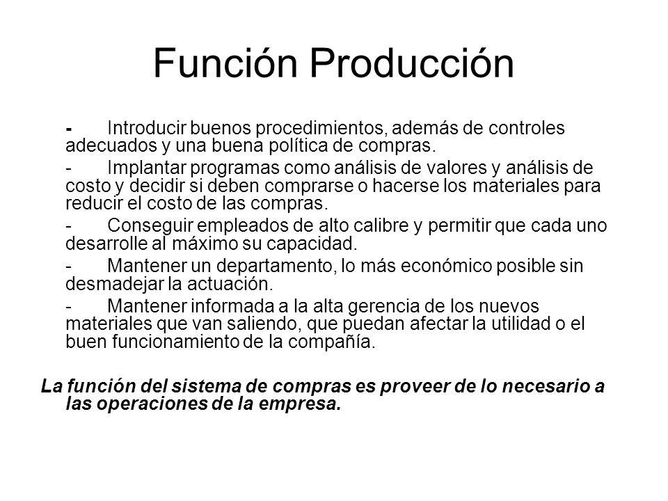 Función Producción -Introducir buenos procedimientos, además de controles adecuados y una buena política de compras.
