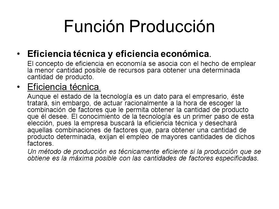 Función Producción Eficiencia técnica y eficiencia económica.
