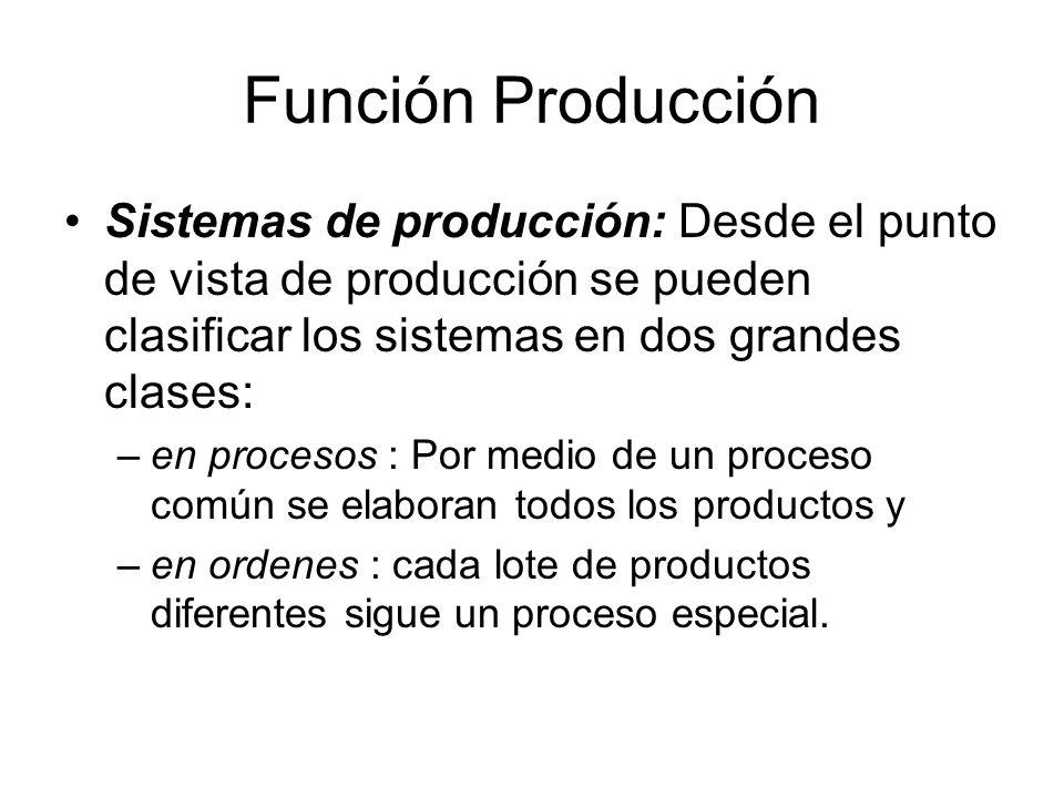 Función Producción Sistemas de producción: Desde el punto de vista de producción se pueden clasificar los sistemas en dos grandes clases: –en procesos : Por medio de un proceso común se elaboran todos los productos y –en ordenes : cada lote de productos diferentes sigue un proceso especial.