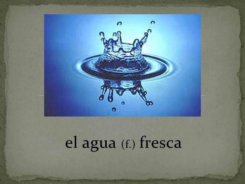 el agua (f.) fresca