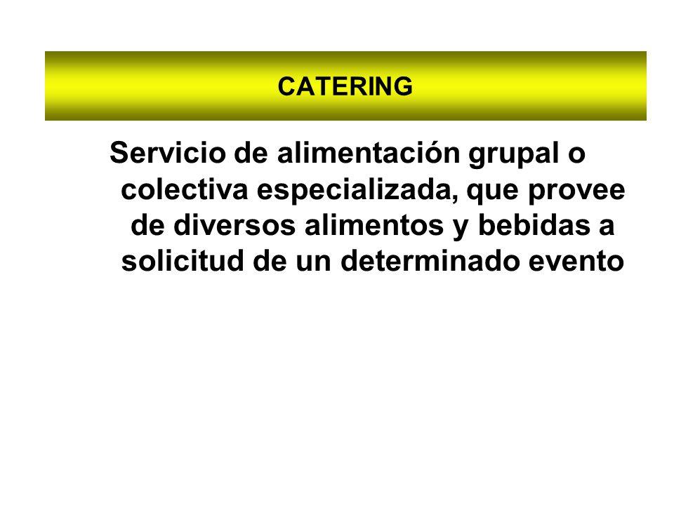 CATERING Servicio de alimentación grupal o colectiva especializada, que provee de diversos alimentos y bebidas a solicitud de un determinado evento
