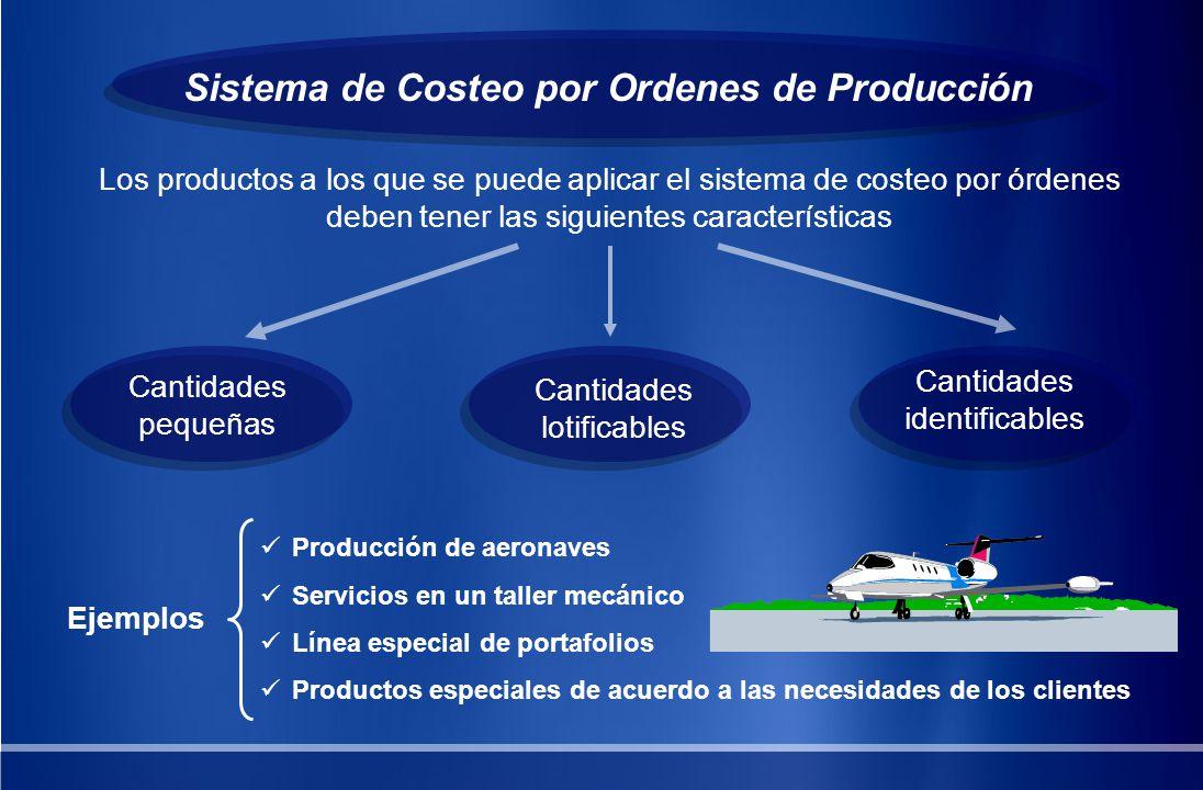 Sistema de Costeo por Ordenes de Producción Los productos a los que se puede aplicar el sistema de costeo por órdenes deben tener las siguientes carac