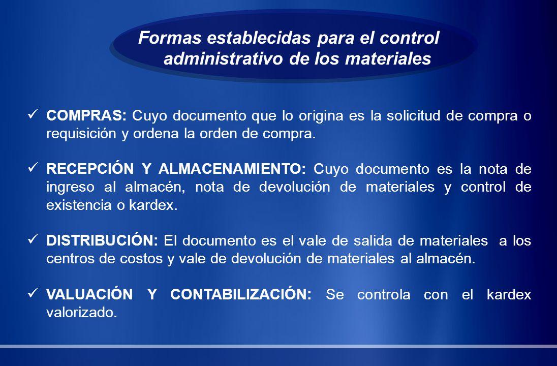 Formas establecidas para el control administrativo de los materiales COMPRAS: Cuyo documento que lo origina es la solicitud de compra o requisición y