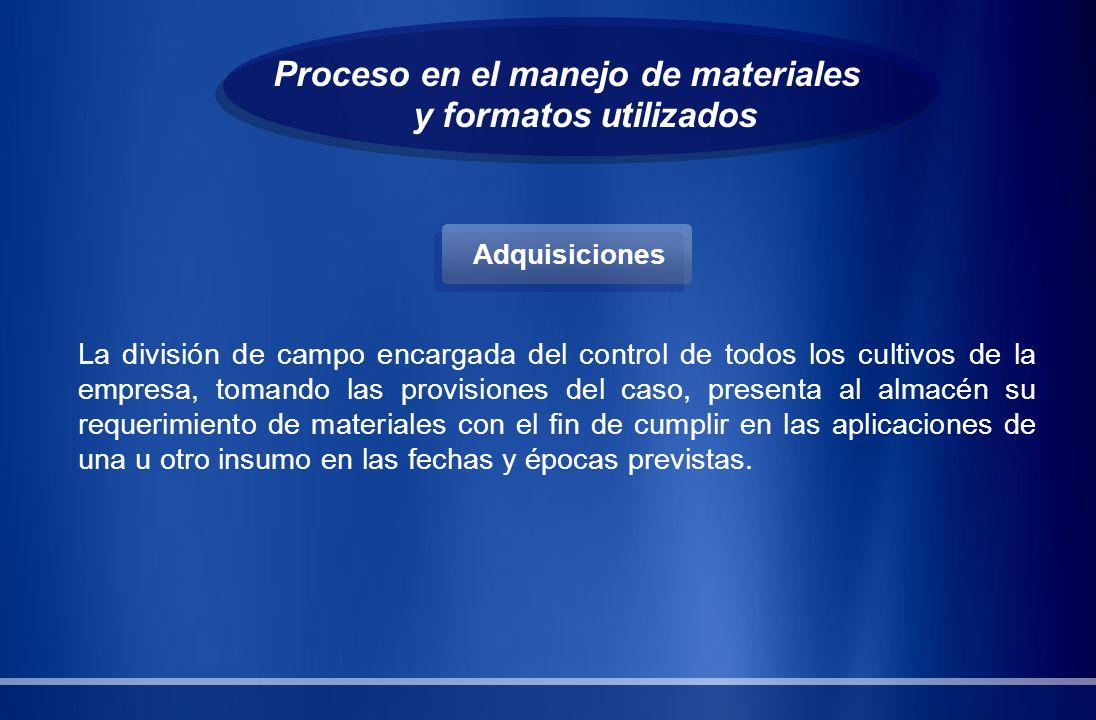 Proceso en el manejo de materiales y formatos utilizados La división de campo encargada del control de todos los cultivos de la empresa, tomando las p